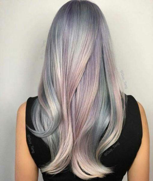 Metallic Grey Ombre Unicorn Hair