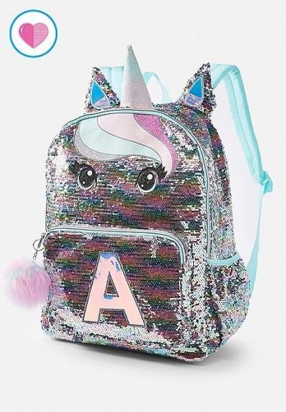 Pastel Unicorn Flip Sequin Initial Backpack