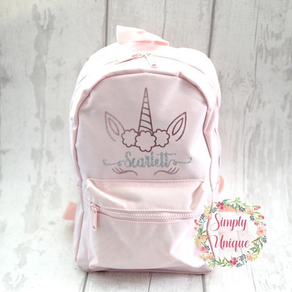 Personalised Unicorn Backpack Rucksack Bag Glitter Your Name