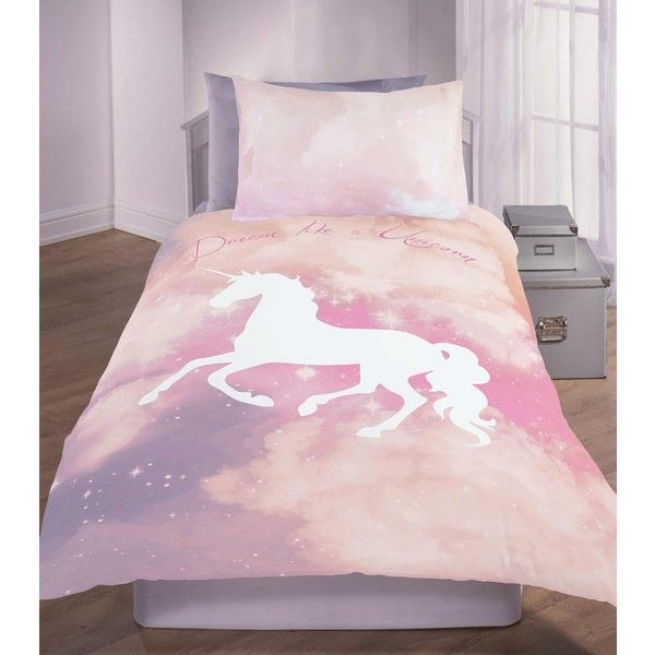 Pink 'dream Like A Unicorn' Slogan Galaxy Print Single Duvet Set