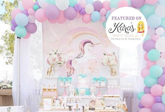 Pink Unicorn Backdrop, You Print, Unicorn Party, Unicorn Birthday