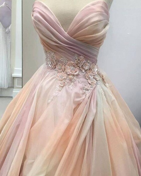 Pretty Pink Lazaro Wedding Dress With Floral Applique And Ruched