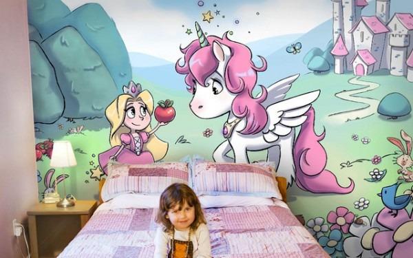 Princess And Pink Unicorn Wallpaper Mural