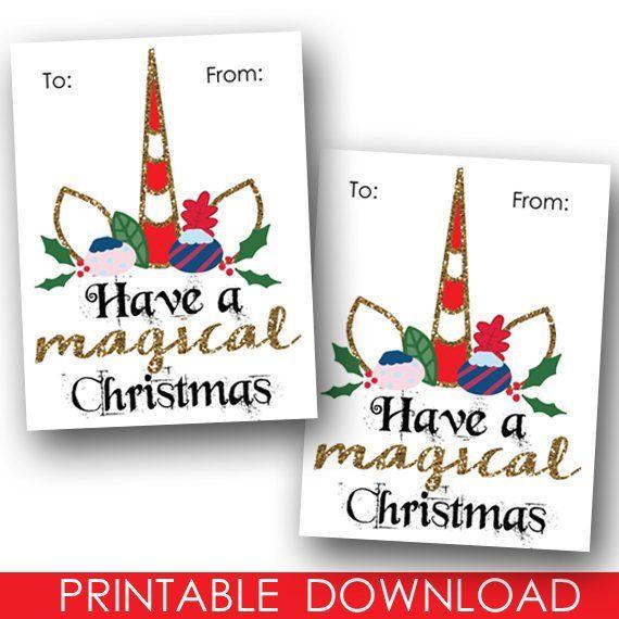 Printable Christmas Unicorn Tags   Unicorn Christmas   Printable