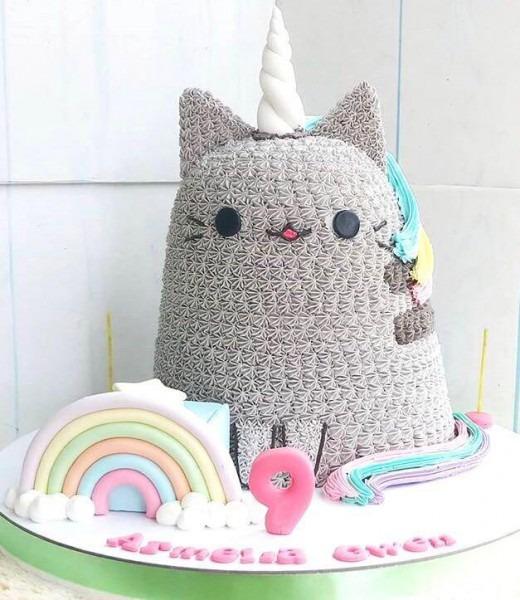 Pusheen Unicorn 3d Cake, Food & Drinks, Baked Goods On Carousell
