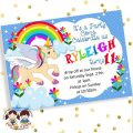 Unicorn And Rainbow Party Invitations
