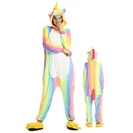 Rainbow Unicorn Kigurumi Onesie Pajamas Animal Costumes For Women