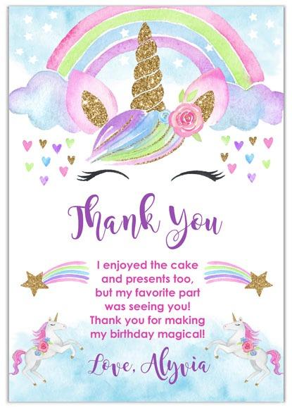 Rainbow Unicorn Thank You Cards Personalized
