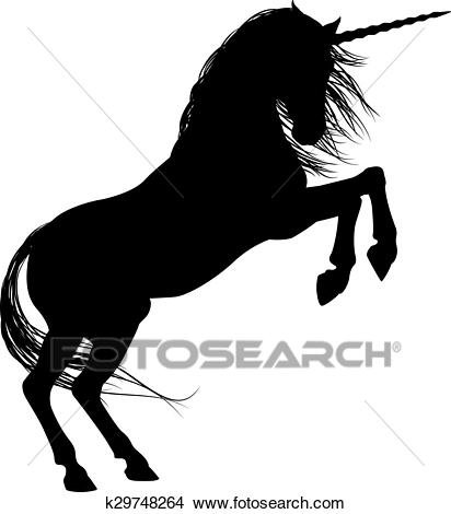 Rearing Unicorn Silhouette Clipart