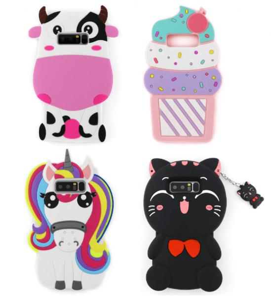 Samsung Galaxy Note 8 3d Cartoon Purple Cow Ice Cream Unicorn Cat
