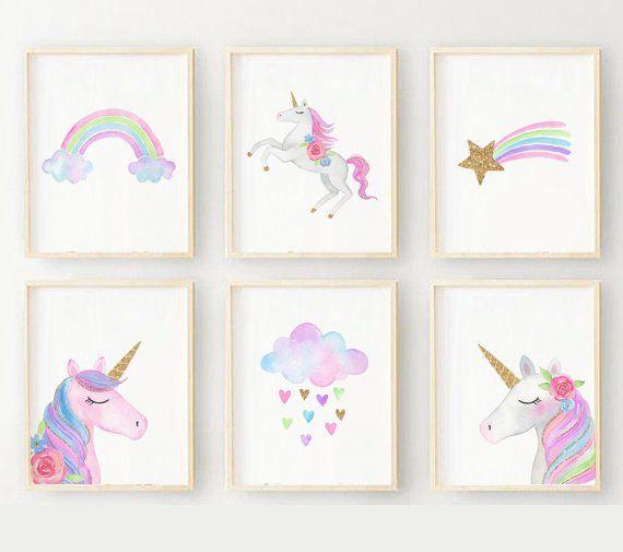 Special Offer Set Unicorn Wall Art, Weather Wall Art, Rainbow
