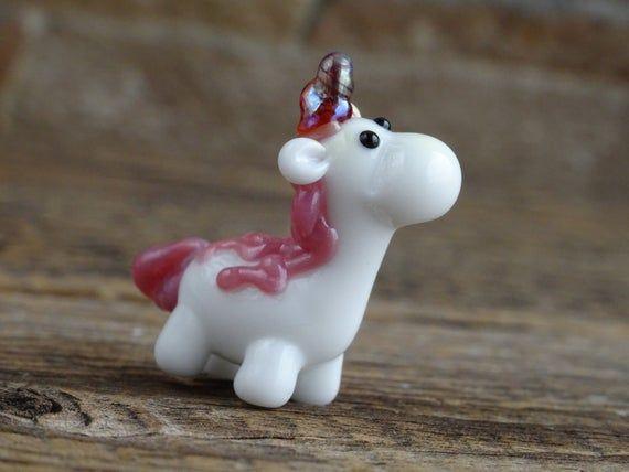 Tiny Unicorn Miniature, Glass Unicorn Figurine, Unicorn Sculpture