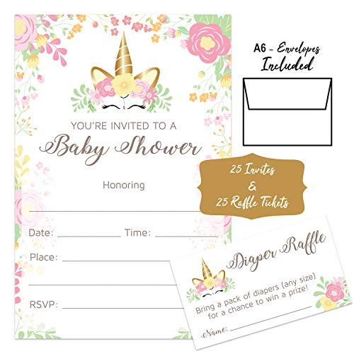 Unicorn – Baby Shower Invitations Girl With Envelopes And Diaper
