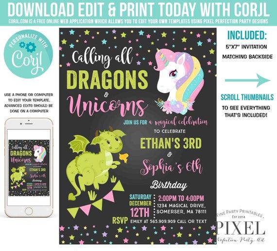 Unicorn And Dragon Invitation Unicorn Dragon Birthday