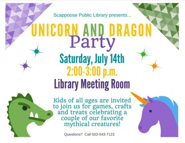 Unicorn And Dragon Party — Scappoose Public Library