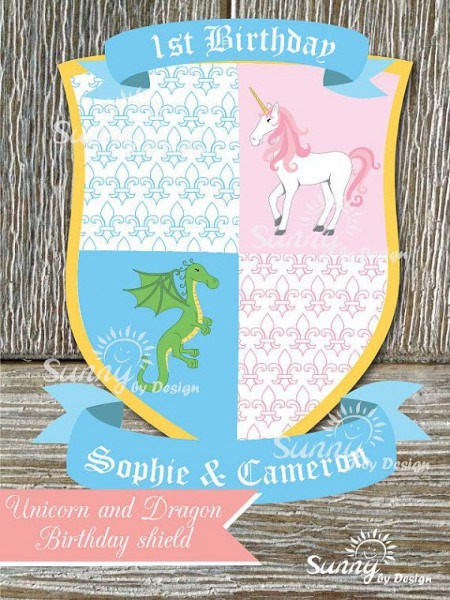 Unicorn And Dragon Printable Birthday Shield