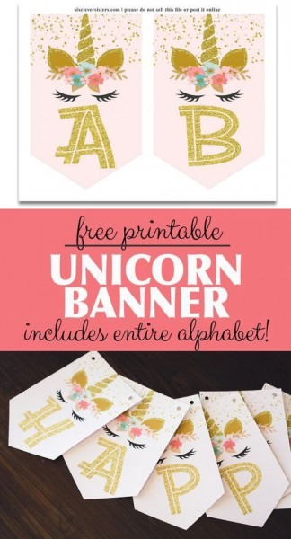 Unicorn Banner Free Printable! (pink & Gold Unicorn Banner
