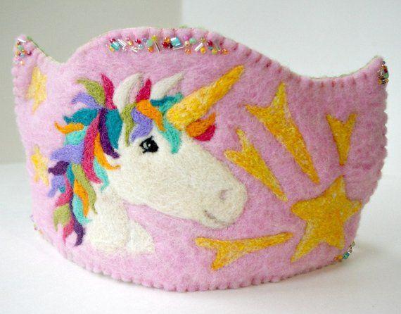 Unicorn Birthday Crown  Waldorf Inspired Felted Wool Crown