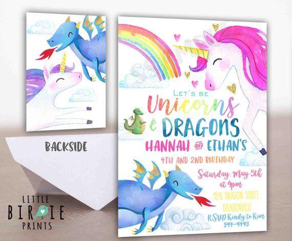 Unicorn Birthday Invitation Dragon And Unicorn Invitation Unicorn