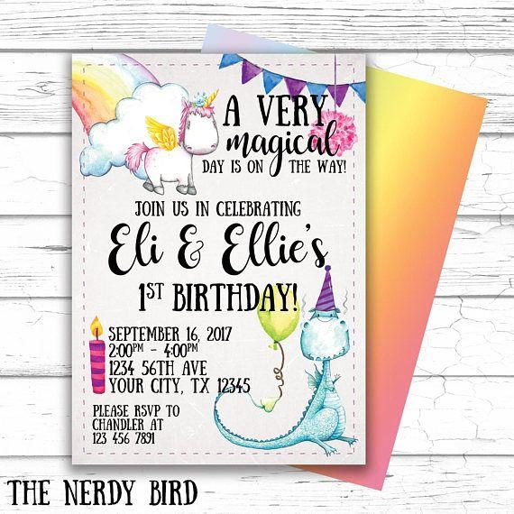 Unicorn Birthday Invitation,printable,dragon Birthday Invitation