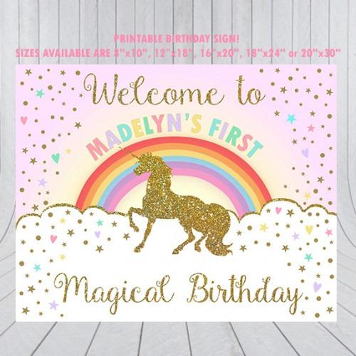 Unicorn Birthday Party Sign