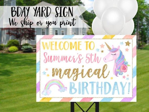 Unicorn Birthday Sign, Unicorn Yard Sign, Unicorn Sign, Rainbow