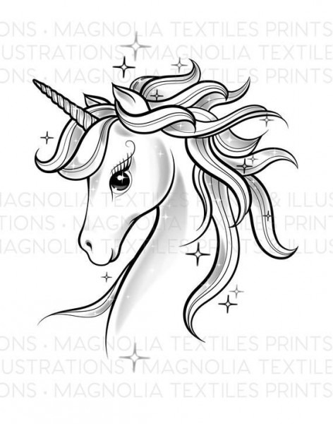 Unicorn Black And White Illustration, Printable Unicorn Digital