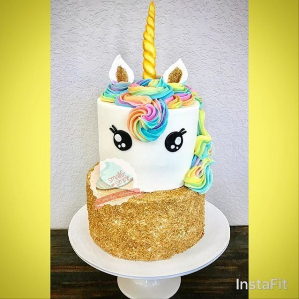 Unicorn Cake With Gold Sprinkle Tier  Smallandsimpleconfections