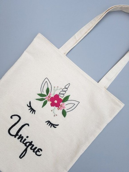 Unicorn Canvas Bag, Personalized Beach Bag, Flower Embroidery Tote