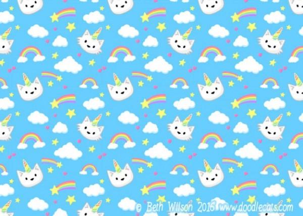 Unicorn Cats – Free Phone Wallpaper – Doodlecats