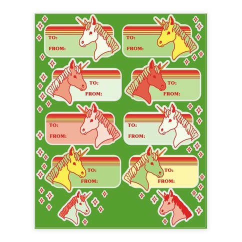 Unicorn Christmas Gift Tag Sticker