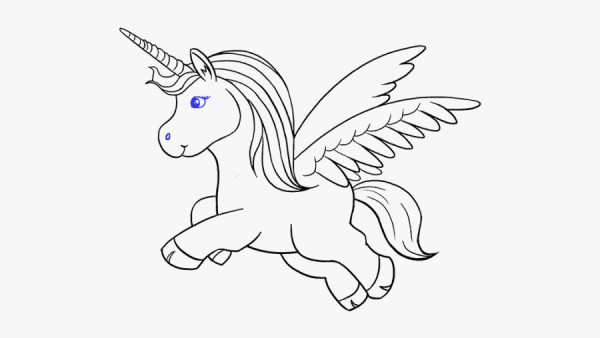 Unicorn Clipart Black And White Easy