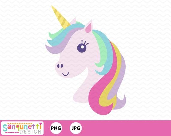Unicorn Clipart Unicorn Head Digital Art Instant Download