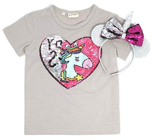 Unicorn Flip Heart Sequin Girl's T