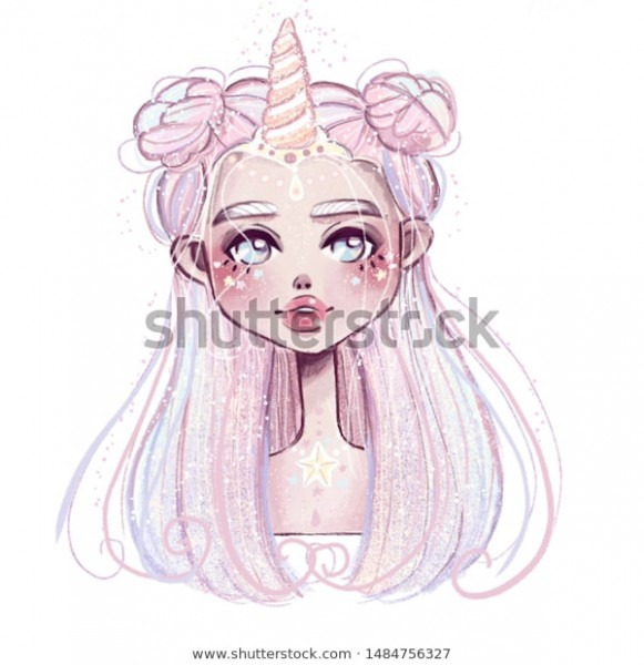 Unicorn Girl Illustration Fairy Tale Drawing Stock Illustration