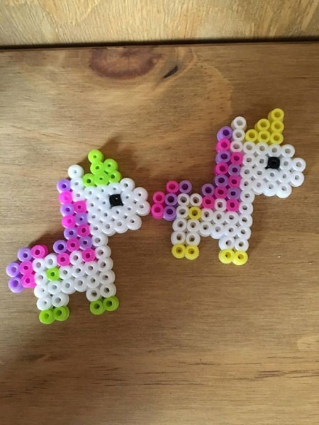 Unicorn Hama Beads!! Set Of Two Green And Yellow Horns