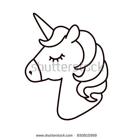 Unicorn Head Clipart Black And White