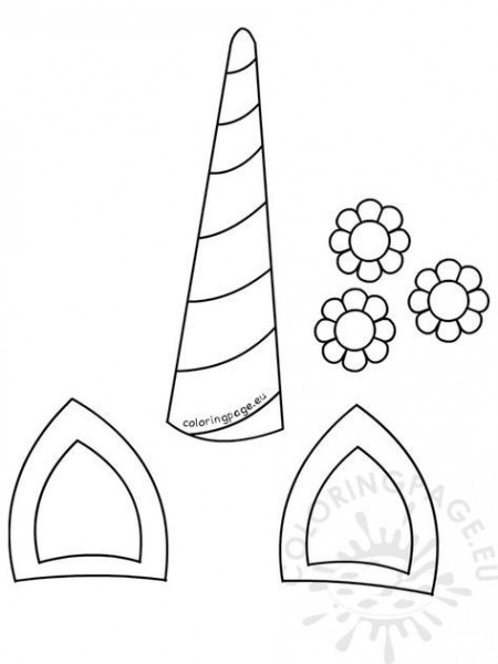 Unicorn Horn Template Unicorn Horn Ears Flowers