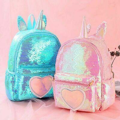 Unicorn Sequin Backpack Girls Back To School Rucksack Travel Kids