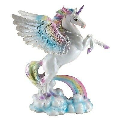 Unipeg Rainbow Pegasus Unicorn Figurine 9 75  High Resin New In