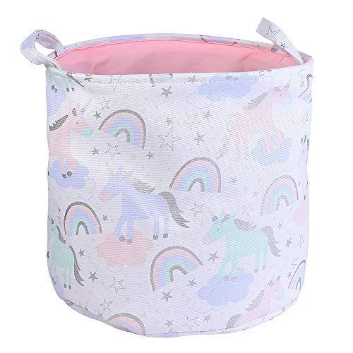 Urijk Unicorn Toy Storage Basket, Baby Girl Unicorn Laundry Hamper