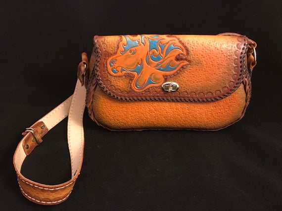 Vintage Unicorn Leather Purse Hand Tooled Turquoise Boho