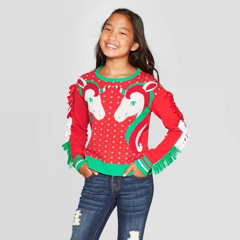 Well Worn Girls' Winter Unicorns Ugly Christmas Sweater