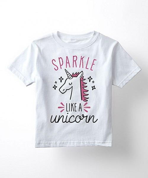 White 'sparkle Like A Unicorn' Glitter Tee