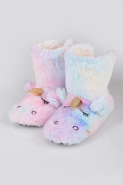 Women's Fuzzy Rainbow Unicorn Slipper Boots
