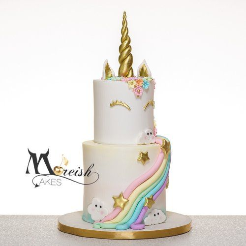 Cute 2 Tier Unicorn And Rainbow Cake From Moreish Cakes
