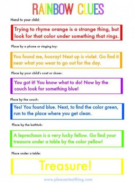 Go On A Rainbow Treasure Hunt With Free Printable Rainbow Clues