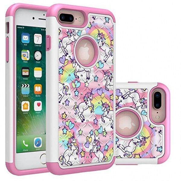 Iphone 7 Plus Case, Iphone 8 Plus Bling Case, Rainbow Unicorn