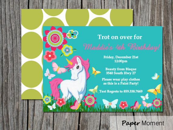 Unicorn Birthday Invitation Enchanted Unicorn Party By Papermoment