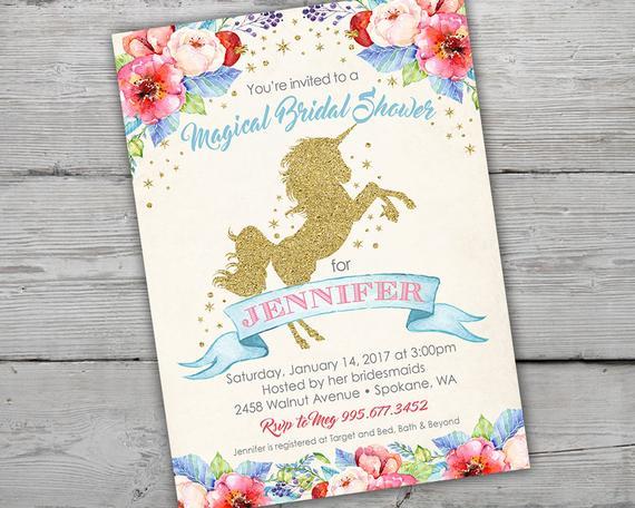 Unicorn Bridal Shower Invitation Unicorn Invitation Magical